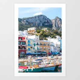 Boats in Capri, Italy Art Print