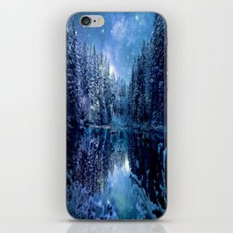 A Cold Winter's Night : Turquoise Teal Blue Winter Wonderland iPhone Skin