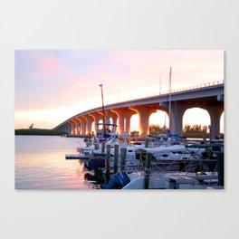Vero Beach , Florida bridge sunset at a marina Canvas Print