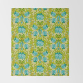 Turquoise and Green Leaves 1960s Retro Vintage Pattern Throw Blanket