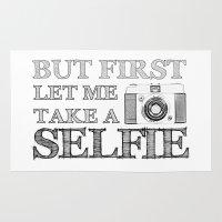 selfie Area & Throw Rugs featuring SELFIE by Laura Maria Designs