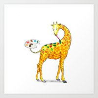 giraffe Art Prints featuring Giraffe by gunberk