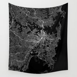 Sydney Black Map Wall Tapestry
