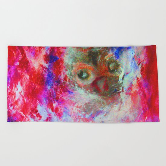 Abstract Owl Beach Towel