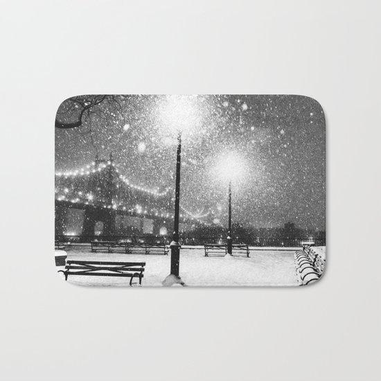 New York City Night Snow Bath Mat