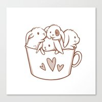 bunnies Canvas Prints featuring bunnies by Charlotte Kim