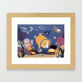 Diving For Treasure! Framed Art Print