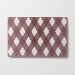 Pantone Red Pear Argyle Plaid Diamond Pattern Metal Print