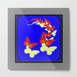 Monarch Butterflies Migration in Blue & Grey Pattern Art Metal Print
