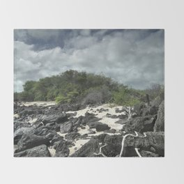 sand and rocks of the Galapagos Throw Blanket