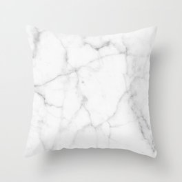 Pure Solid White Marble Stone All Over Throw Pillow