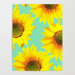 Sunflowers on a pastel green backgrond - #Society6 #buyart Poster