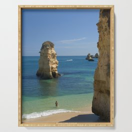 Rock on the beach, the Algarve coast, Portugal Serving Tray