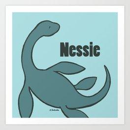 Nessie - The Loch Ness Monster (blue) Art Print