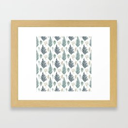 turquoise fern pattern Framed Art Print