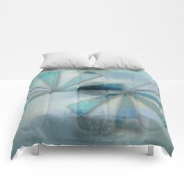 Triangles on Blue Grey Backdrop Comforters