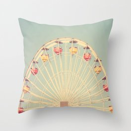 Vintage Santa Monica Pier Throw Pillow