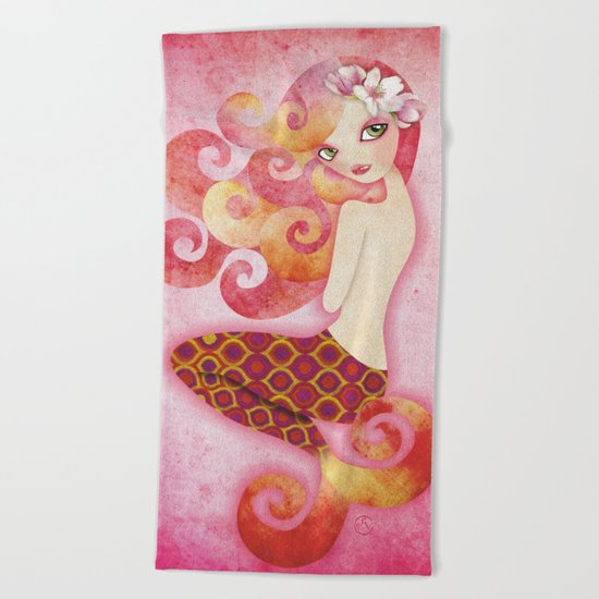 Coraleen, Mermaid in Pink Beach Towel