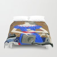 soviet Duvet Covers featuring Lady in a blue dress by Yuliya