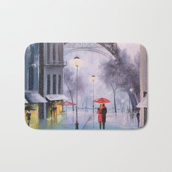 the first snow in Paris Bath Mat