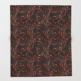 Orange sprigs on a dark background. Throw Blanket