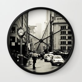 New York City - 5th Avenue in the Rain Wall Clock