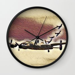 Lancaster Plus Fighters In Weathered Wall Clock