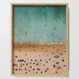 People On Algarve Beach In Portugal, Drone Photography, Aerial Photo, Ocean Wall Art Print Serving Tray