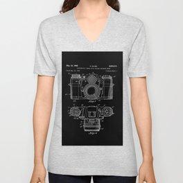 Vintage Camera Patent Black Blueprint Unisex V-Neck