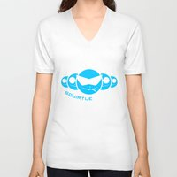 squirtle V-neck T-shirts featuring Squirtle Squad by Ube Bones