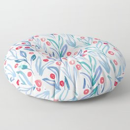 Botanical Pattern | Blue and Red Floor Pillow