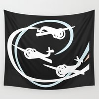 planes Wall Tapestries featuring Aerobatic planes | White Vapor trails by mailboxdisco