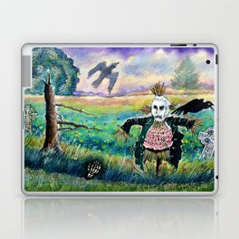 Halloween Field with Funny Scarecrow Skeleton Hand and Crows Laptop & iPad Skin