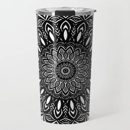 Bold Mandala Black and White Simple Minimal Minimalistic Travel Mug