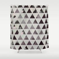triangles Shower Curtains featuring triangles. by Georgiana Paraschiv