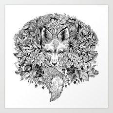 hidden fox Art Print