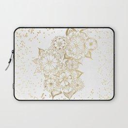 Hand drawn white and gold mandala confetti motif Laptop Sleeve
