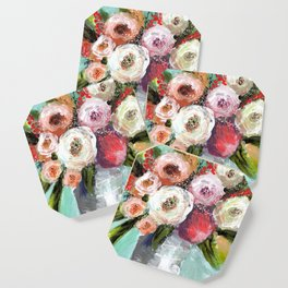 Peach and White Roses Coaster
