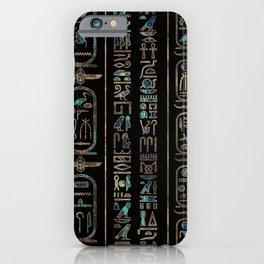 Egyptian hieroglyphs pattern Gold Abalone iPhone Case
