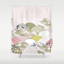 scales simple Nature background with japanese sakura flower, rosy pink Cherry, wave circle pattern Shower Curtain