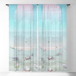 Between two waters Sheer Curtain