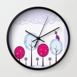 Pastel Dream Trees Wall Clock