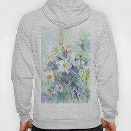 watercolor drawing - white daisies, beautiful bouquet, painting Hoody