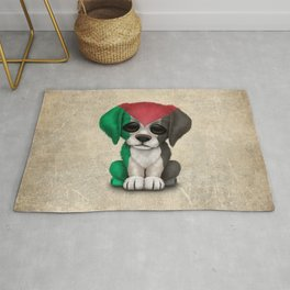 Cute Puppy Dog with flag of Palestine Rug