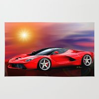 ferrari Area & Throw Rugs featuring Red Ferrari by JT Digital Art