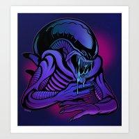 xenomorph Art Prints featuring Xenomorph Drone by electroluxx