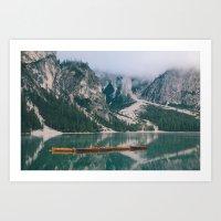 boats at Lago di Braies || Art Print