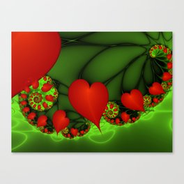 Dancing Red Hearts Fractal Art Canvas Print