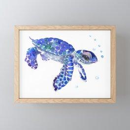 Cute Blue Baby Sea Turtle. children illustration, turtle art Framed Mini Art Print