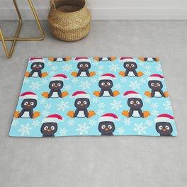 Snowy Penguins Pattern Rug